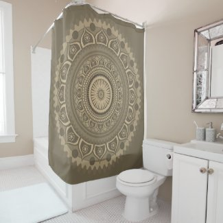Indian mandala Blue in Sepia Shower Curtain
