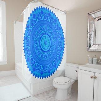 Indian mandala Blue Shower Curtain