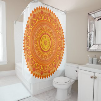 Indian mandala Orange Shower Curtain