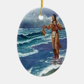 Indian Medicine man by the ocean Ceramic Ornament