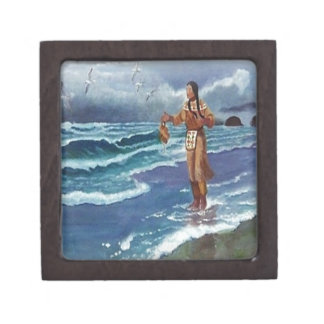 Indian Medicine man by the ocean Jewelry Box