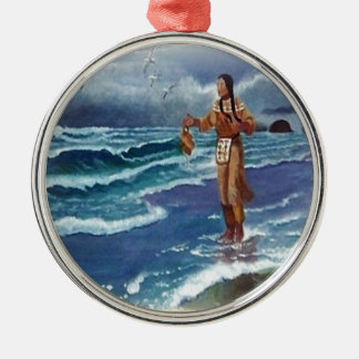 Indian Medicine man by the ocean Metal Ornament