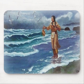 Indian Medicine man by the ocean Mouse Pad