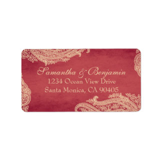 Indian Mehndi Address Labels red and gold