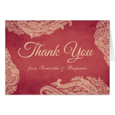 Indian Mehndi Thank You Card red and gold
