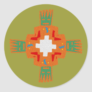Indian native american ornament Deco ration Classic Round Sticker