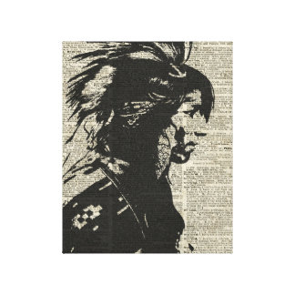 Indian Native American Over An Old Dictionary Page Canvas Print