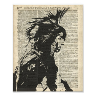 Indian Native American Over An Old Dictionary Page Photo Print