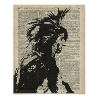 Indian Native American Over An Old Dictionary Page Poster