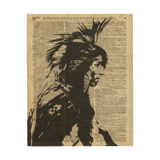 Indian Native American Over An Old Dictionary Page Wood Print