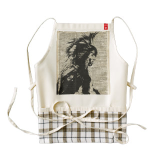 Indian Native American Over An Old Dictionary Page Zazzle HEART Apron