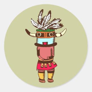 Indian native American shaman shaman Round Stickers