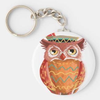 Indian Native American Thanksgiving Owl Pilgrim Keychain