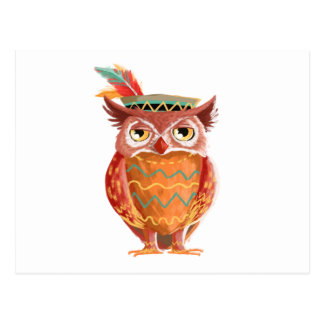 Indian Native American Thanksgiving Owl Pilgrim Postcard