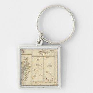 Indian Ocean Islands Silver-Colored Square Keychain