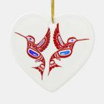 Indian of birds native American birds Ceramic Ornament