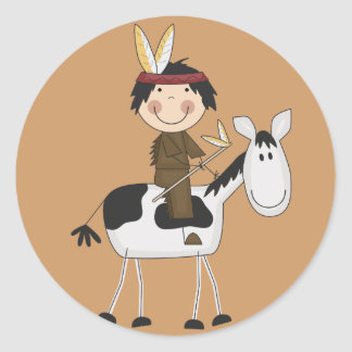 Indian on Horse Tshirts and Gifts Classic Round Sticker