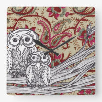 Indian Owls Clock