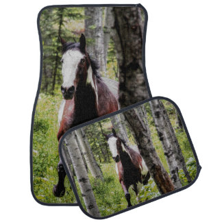 Indian Paint Gelding Running in Forest Horse Photo Car Floor Mat