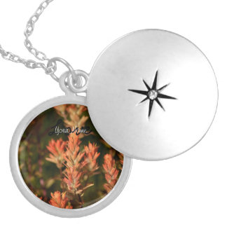 Indian Paintbrush; Customizable Silver Plated Necklace