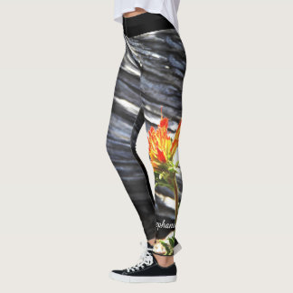 Indian Paintbrush Floral with Personalized Name Leggings