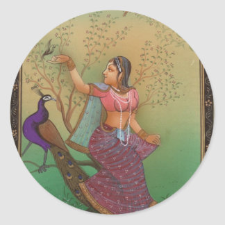 INDIAN PAINTING-LADY IN THE PEACOCK GARDEN CLASSIC ROUND STICKER