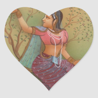 INDIAN PAINTING-LADY IN THE PEACOCK GARDEN HEART STICKER