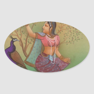 INDIAN PAINTING-LADY IN THE PEACOCK GARDEN OVAL STICKER