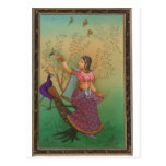 INDIAN PAINTING-LADY IN THE PEACOCK GARDEN POST CARDS
