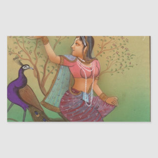 INDIAN PAINTING-LADY IN THE PEACOCK GARDEN RECTANGULAR STICKER