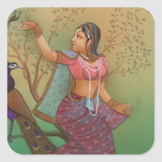 INDIAN PAINTING-LADY IN THE PEACOCK GARDEN SQUARE STICKER