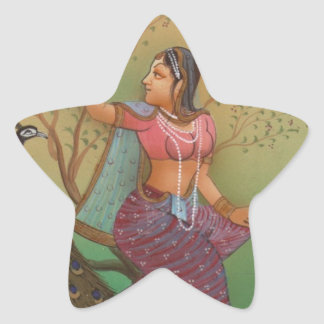 INDIAN PAINTING-LADY IN THE PEACOCK GARDEN STAR STICKER