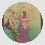 INDIAN PAINTING-LADY IN THE PEACOCK GARDEN STICKER
