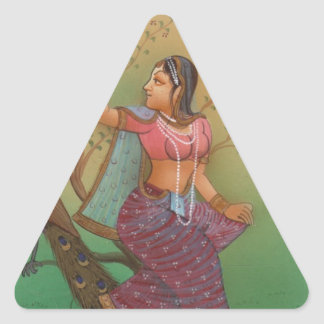INDIAN PAINTING-LADY IN THE PEACOCK GARDEN TRIANGLE STICKER