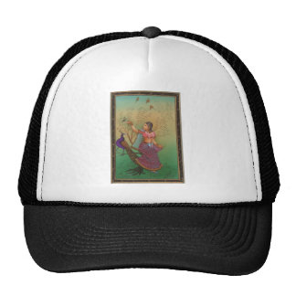 INDIAN PAINTING-LADY IN THE PEACOCK GARDEN TRUCKER HAT