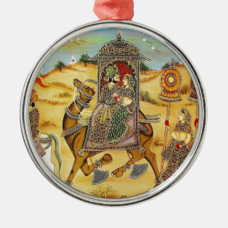 INDIAN - PAINTING MARRIAGE PROCESSION WITH CAMELS METAL ORNAMENT