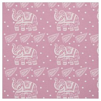 Indian Paisley and Elephant Block-print Pink Rose Fabric