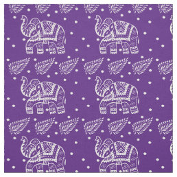 Indian Paisley and Elephant Block-print Purple Fabric