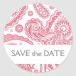 Indian Paisley Save the Date Round Stickers