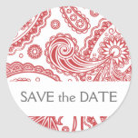 Indian Paisley Save the Date Sticker