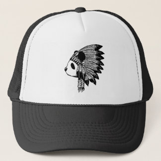 Indian panda trucker hat