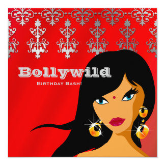 Indian Party Invitation Silver Red Bindi