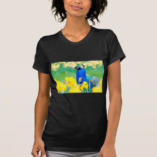 Indian Peafowl among narcissus flowers T-shirts