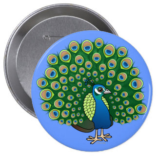 Indian Peafowl Button