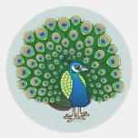 Indian Peafowl Classic Round Sticker