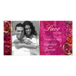 Indian Photo Card Save the Date Damask Pink Gold