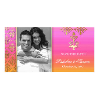 Indian Photo Card Save the Date Damask Pink Orange