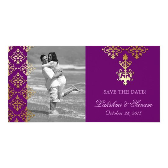 Indian Photo Card Save the Date Damask Purple Gold