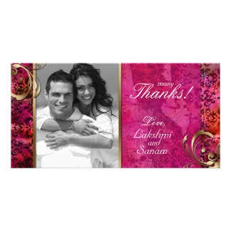 Indian Photocard Template Damask Pink Gold