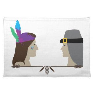 Indian & Pilgrim Heads Placemat